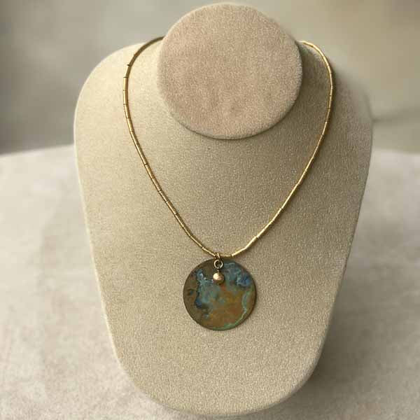Patina & Gold Disc Necklace
