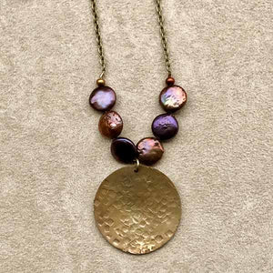 Hammered Brass & Pearl Necklace