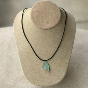 Aqua Chalcedony Stone on Leather Necklace