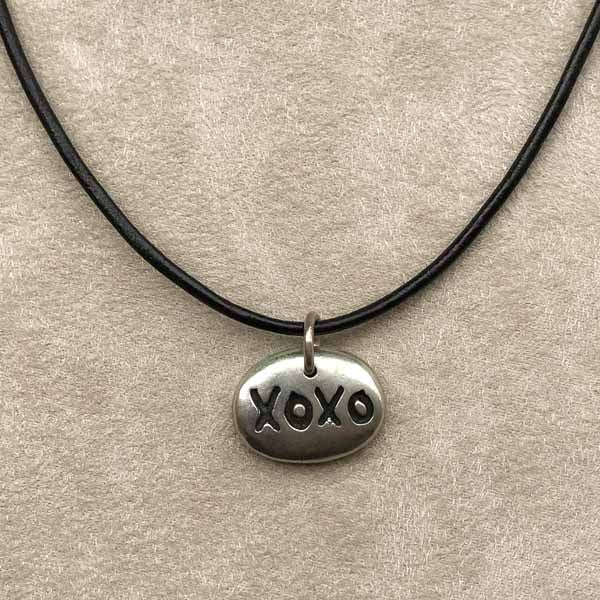 XOXO Sterling Pendant on Leather