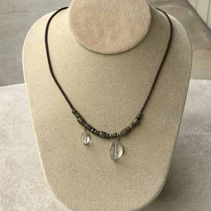 Crystal Quartz on Leather with Metal Necklace