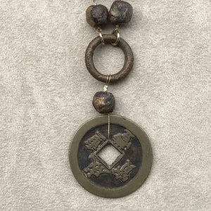 Asian Coin & Tribal Bead Necklace