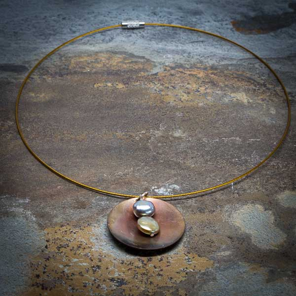 Geometry & Pearl Patina Choker Necklace