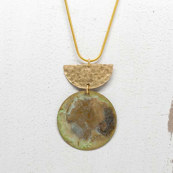 Muted Patina & Hammered Brass Necklace