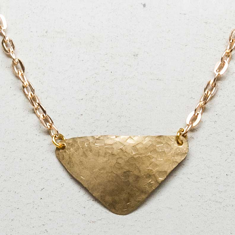 Hammered Triangular Brass Necklace