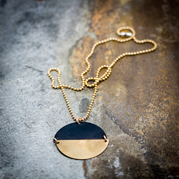 Black Oxidized & Brass Necklace