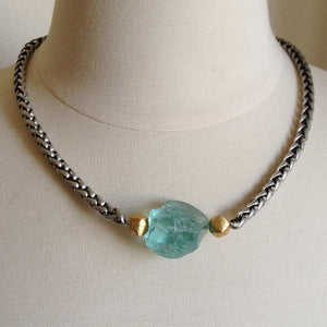 Aqua Quartz Choker Style Necklace