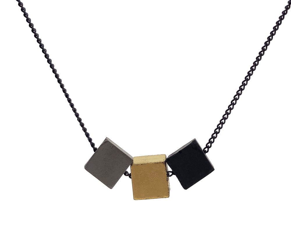 Concrete Cubist Necklace B-G-C