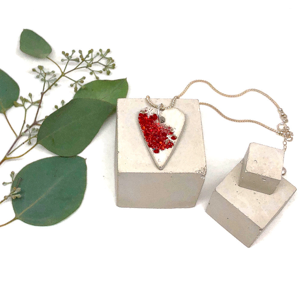 Concrete Heart Necklace with Embedded Red Glass