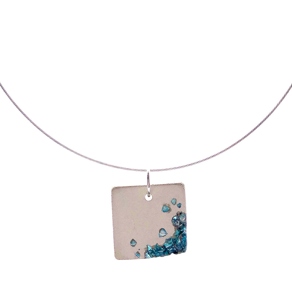 Concrete with Aqua Glass Shards Necklace