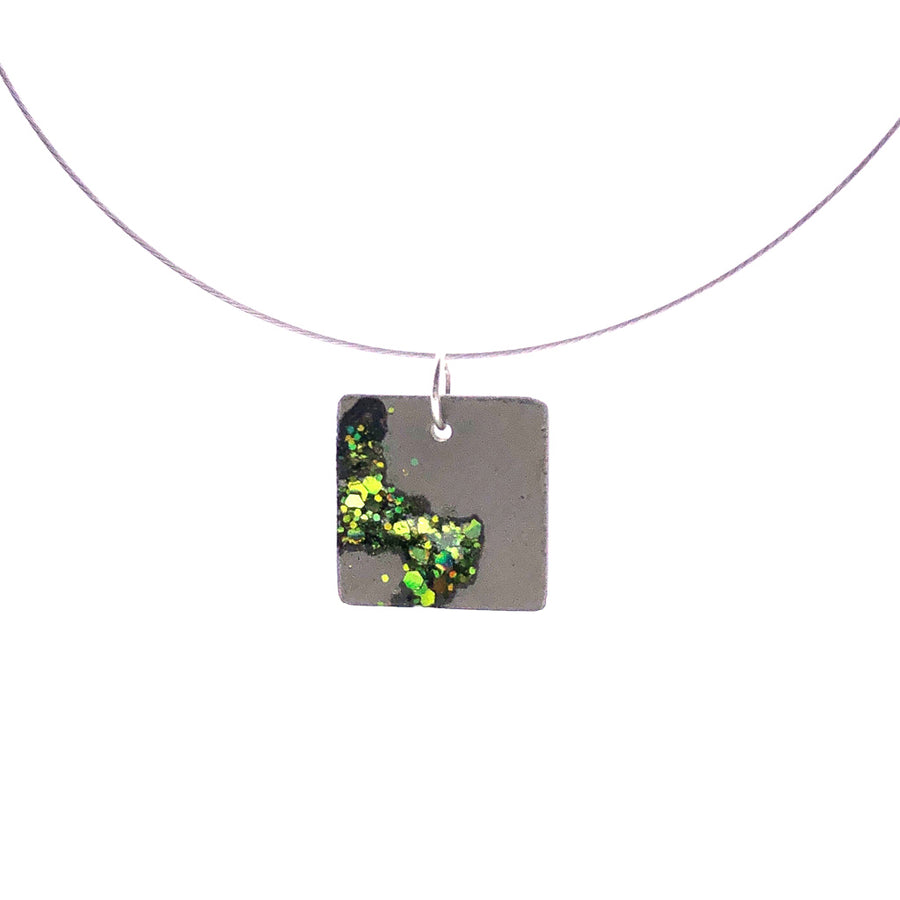 Shimmering Forest Path Concrete & Glass Shards Necklace