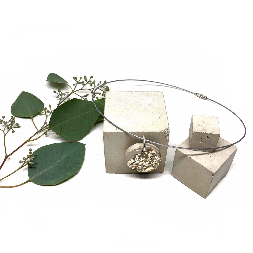 Shimmering Platinum Concrete Necklace