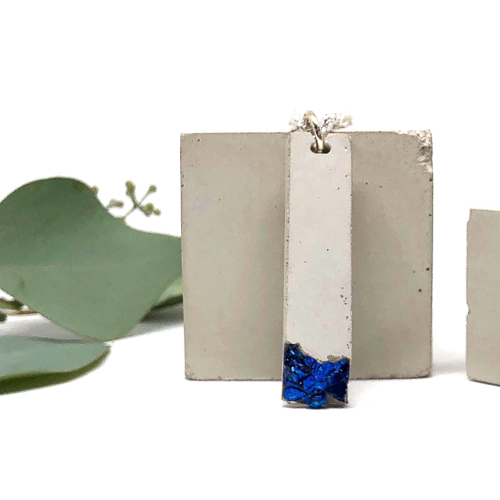 Concrete & Cobalt Blue Glass Shard Necklace