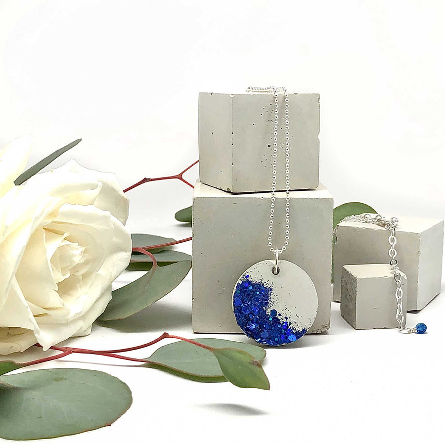 Concrete & Embedded Cobalt Blue Glittering Glass Necklace