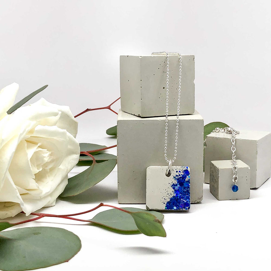 Concrete & Embedded Cobalt Blue Glittering Glass Square Necklace