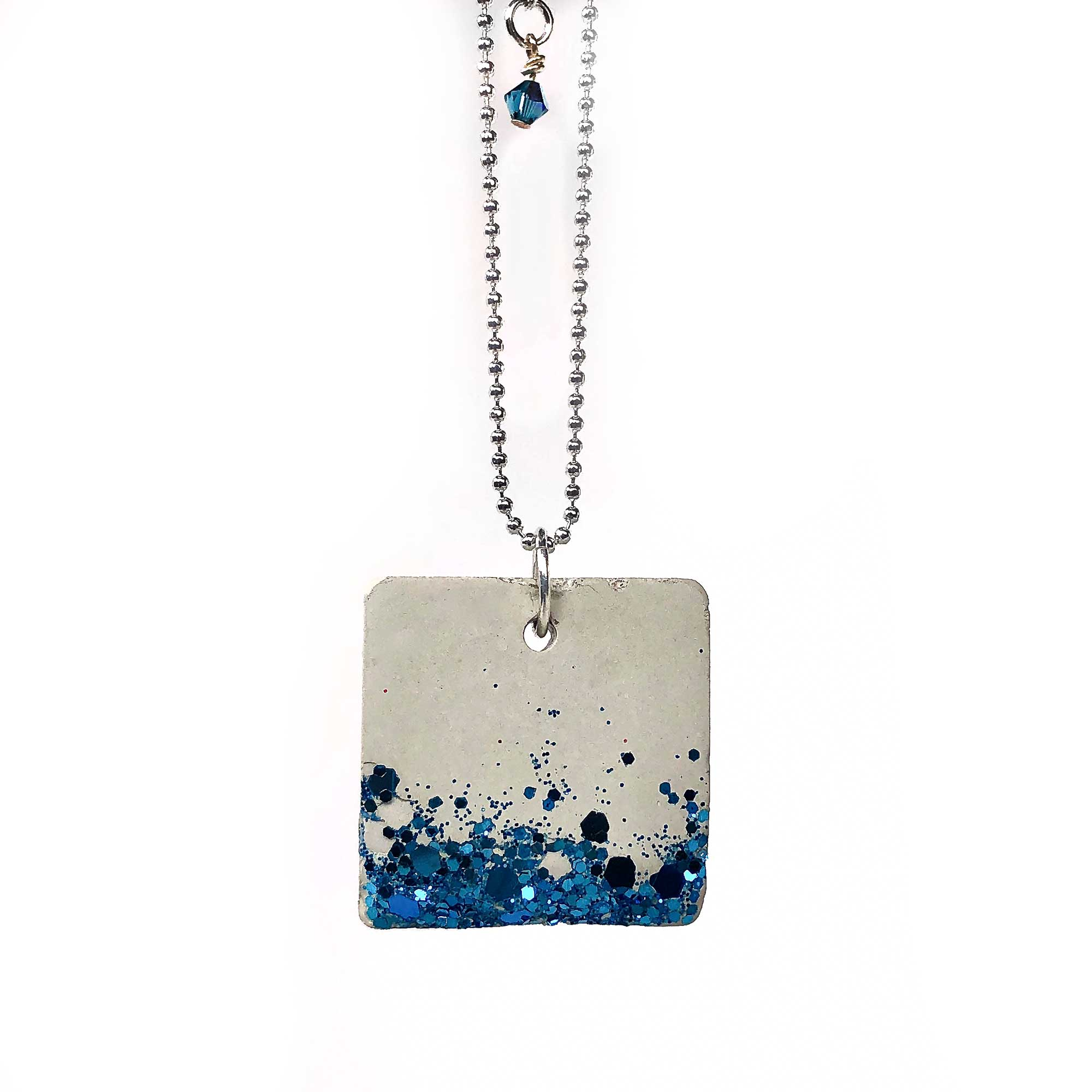 Shimmering Teal Embedded Square Concrete Necklace
