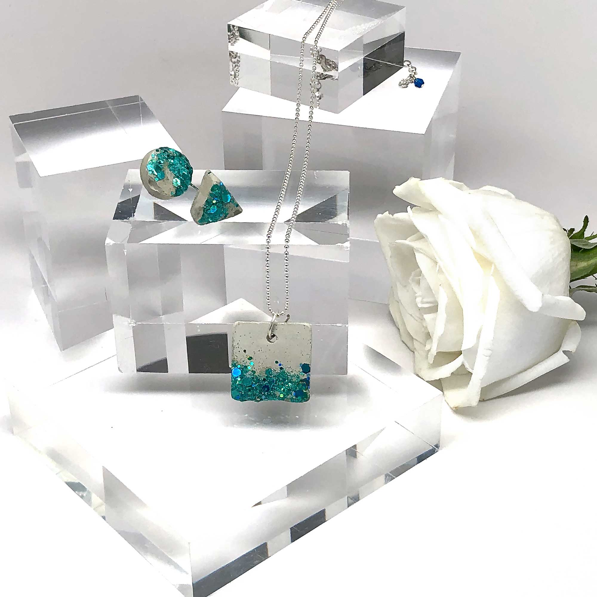 Concrete & Shimmering Aqua Necklace & Earring Set #2