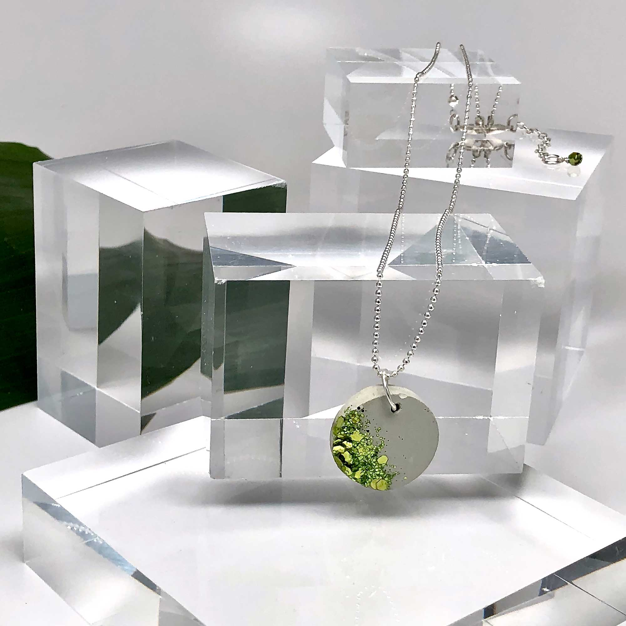 Concrete with Embedded Chartreuse Glittering Glass Necklace