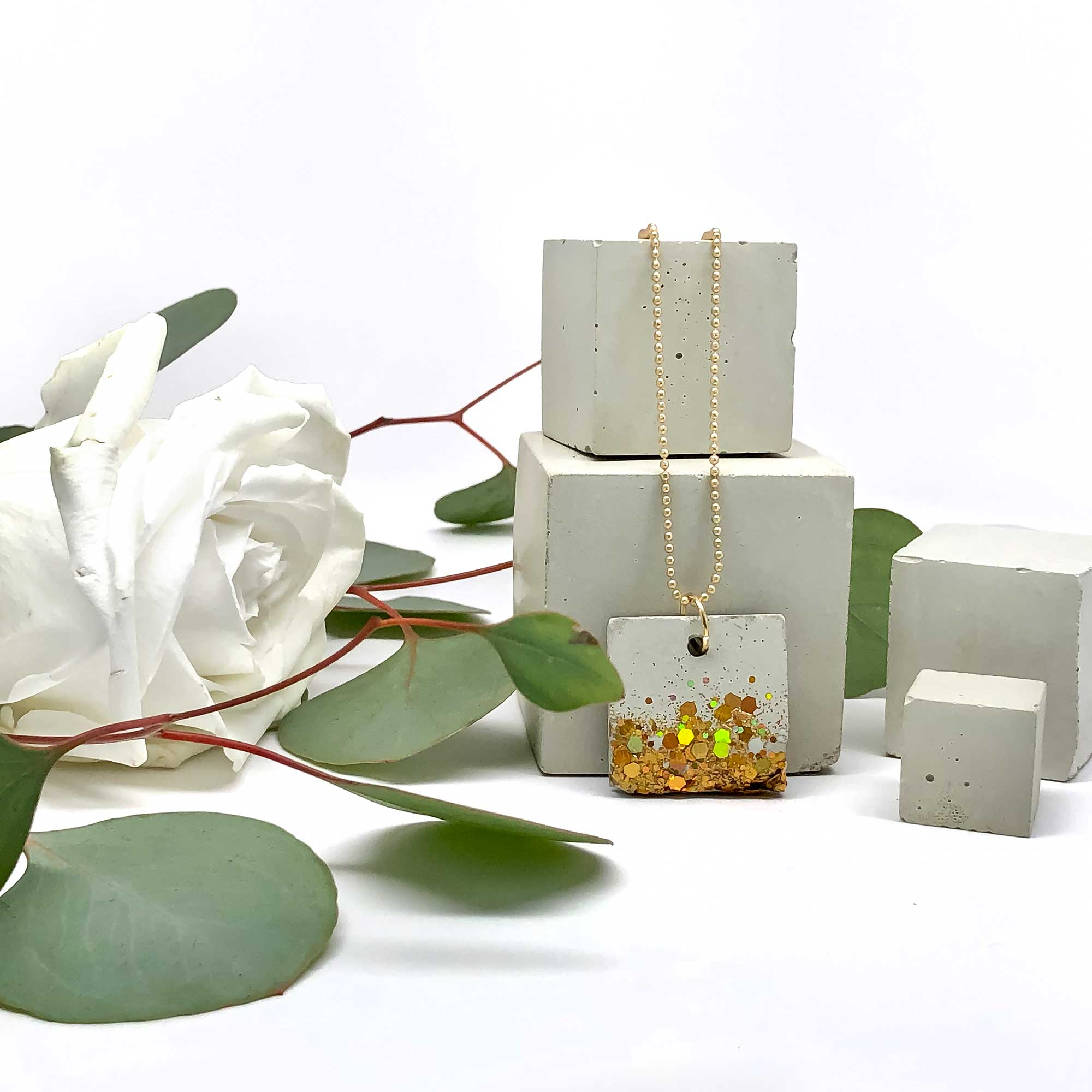 Shimmering Gold Embedded in Concrete Square Necklace