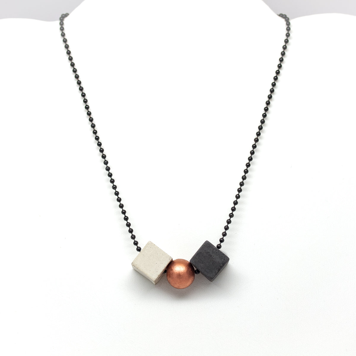 Concrete Mixed Geometric Necklace B-C-W