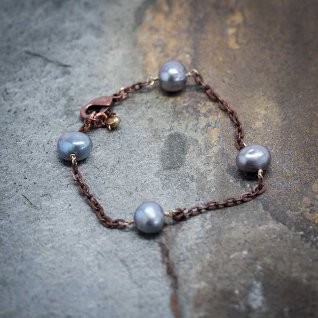 Copper & Grey Pearl Bracelet