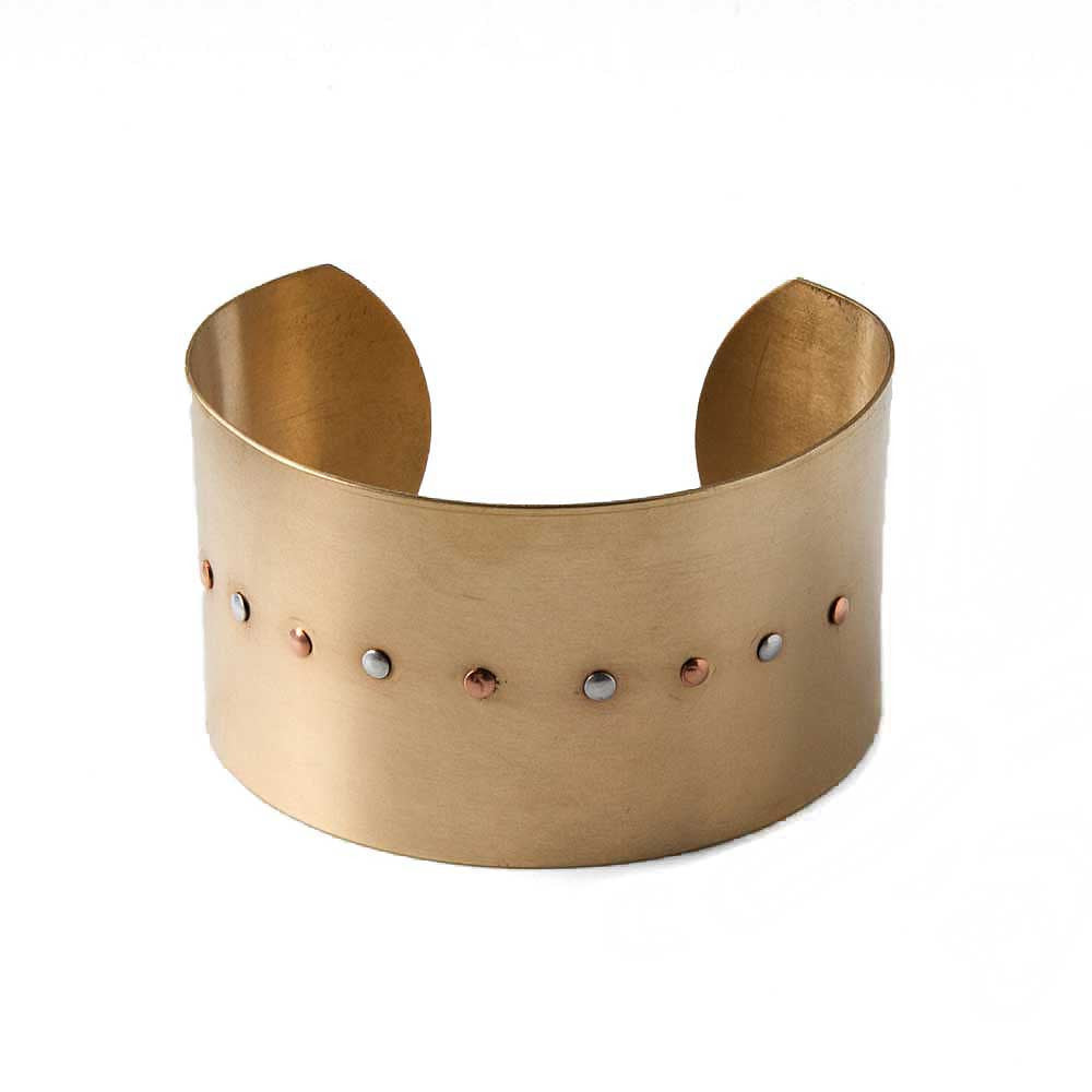 Brass Riveted Cuff Bracelet -  - 1
