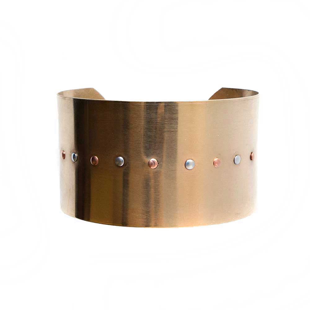 Brass Riveted Cuff Bracelet -  - 2