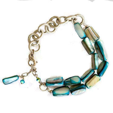 Turquoise Mother of Pearl Chain Bracelet - JUICY JEWELRY