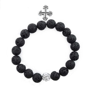 Lava Stone & Cross Design Bracelet -