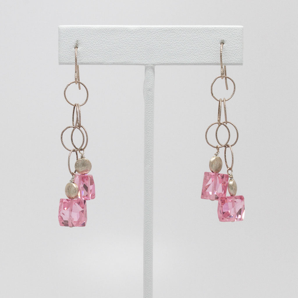 Pink Frolic Drop Earrings