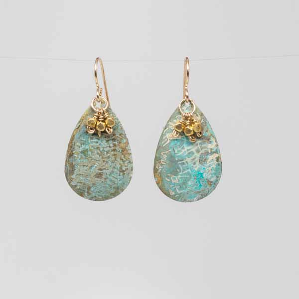 Golden Patina Teardrop Earrings
