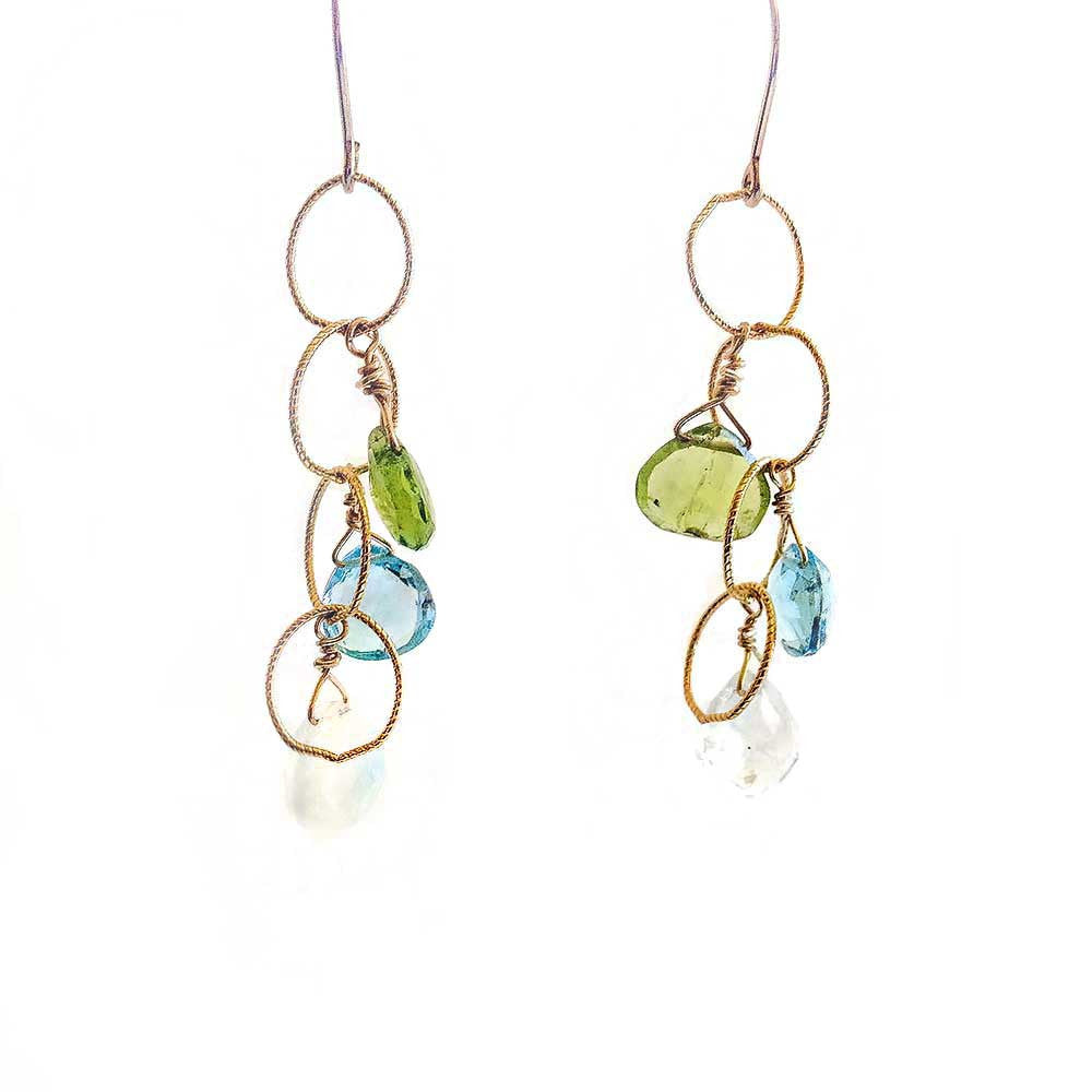 Blue Sea Cascade Earrings -