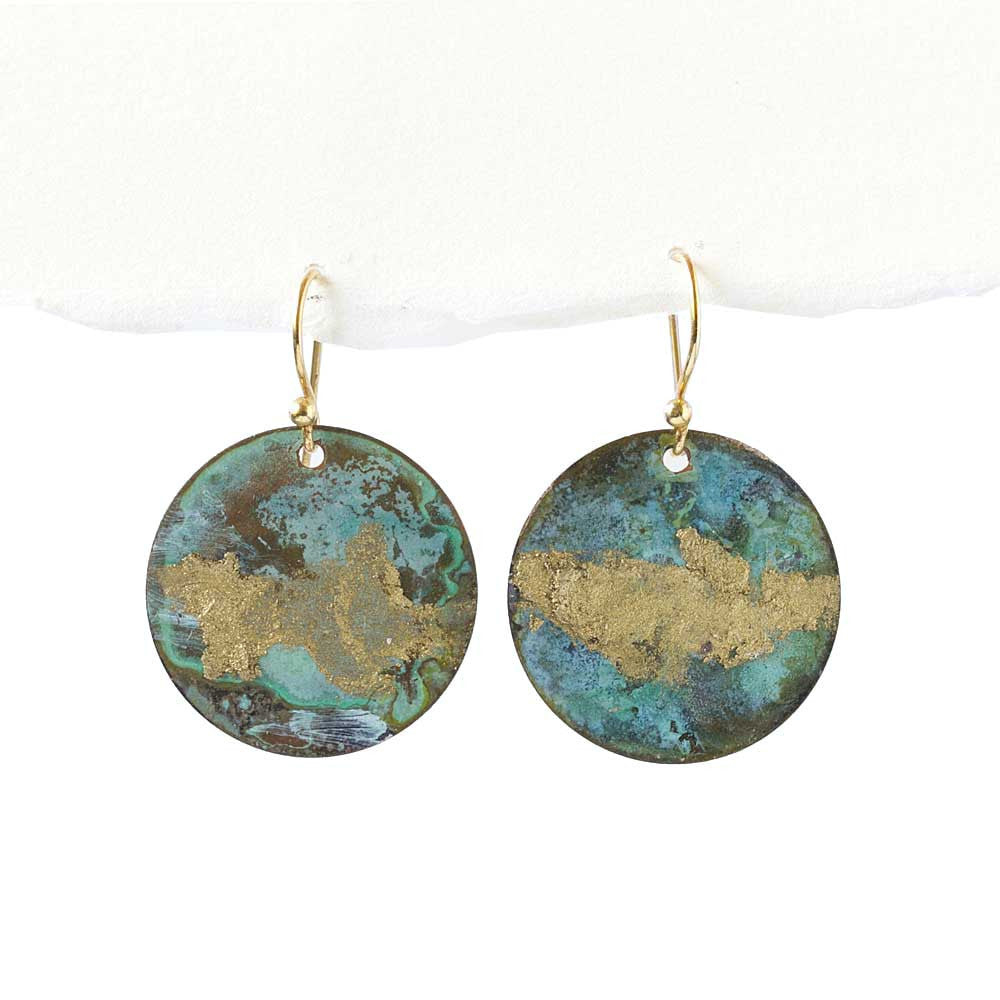 Turquoise and Gold Patina Earrings -