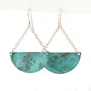 Turquoise Patina Crescent Earrings - JUICY JEWELRY