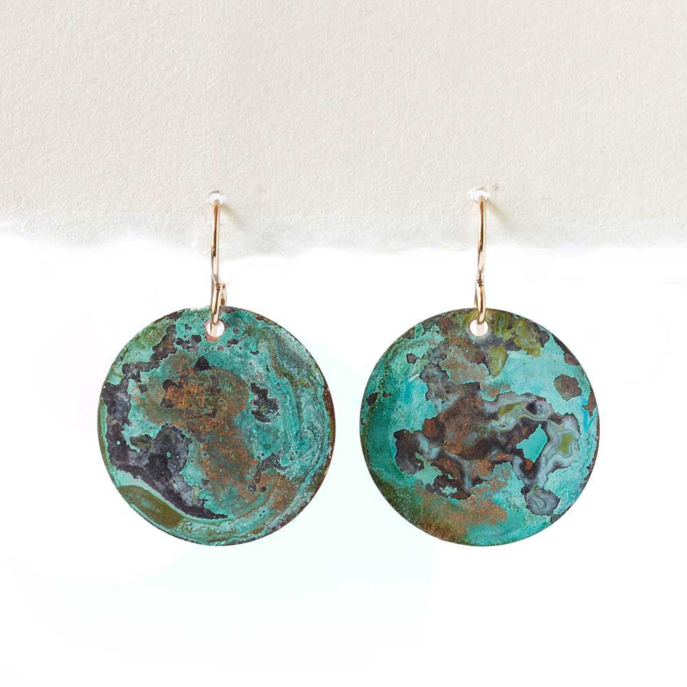 Distressed Turquoise on Copper Patina Earrings -