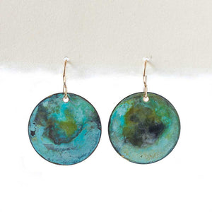 Aqua Patina on Copper Earrings -