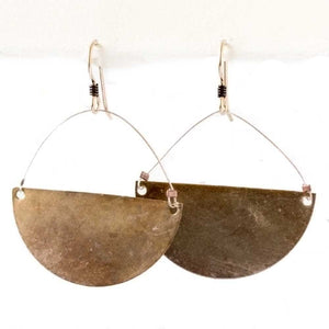Autumn Patina Crescent Earrings -