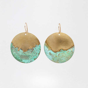 Patina & Smooth Brass Half-Dip Earrings