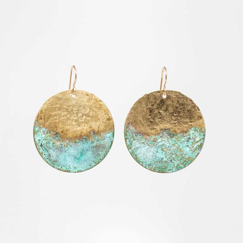 Patina & Hammered Brass Half-Dip Earrings