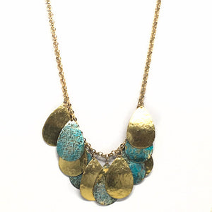Golden Patina Teardrop Necklace