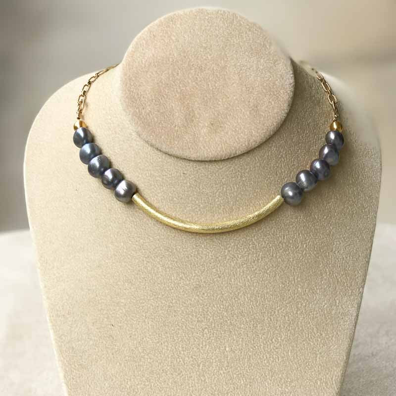 Grey Pearl & Gold Choker Style Necklace