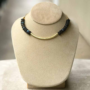 Labradorite & Gold Choker Necklace