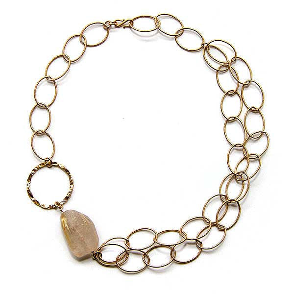 Rutilated Quartz Ring Necklace -