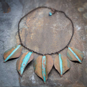 Fallen Leaves Patina Necklace