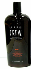 American Crew 3-In-1 Shampoo Conditioner Body Wash 33.8 oz Liter