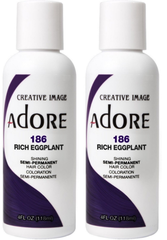 Adore Semi-Permanent Haircolor, [186] Rich Eggplant 4 oz (pack of 2)