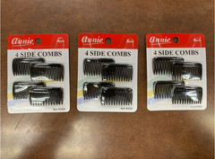 Annie 4 Side Combs Small Clear Black #3203(pack of 3)