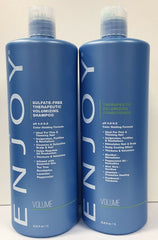 Enjoy Therapeutic Volumizing Sulfate Free Shampoo and Conditioner 33.8 oz 1 L DUO