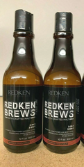 Redken Brews 3 in 1 Shampoo, Conditioner, And Body Wash 10oz( 2 PACK)