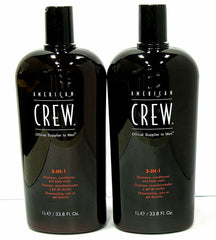 American Crew 3-In-1 Shampoo Conditioner Body Wash 33.8 oz Liter (PACK OF 2)